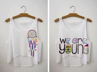 tank top yotta kilo we are young forever young dreamcatcher white tank top crop tops tumblr instagram instagramfashion