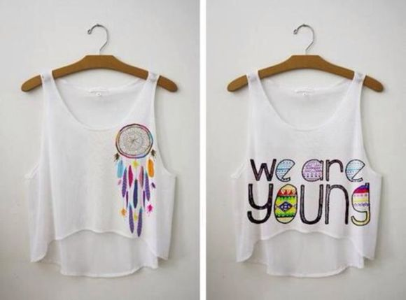crop tops tank top white tank top tumblr yotta kilo we are young forever young dreamcatcher instagram instagramfashion