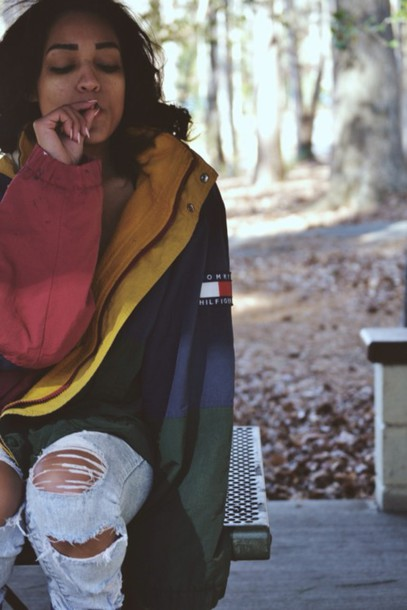 coat jacket blue yellow red dress tommy hilfiger