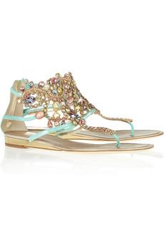 René Caovilla|Swarovski crystal-embellished suede sandals|NET-A-PORTER.COM