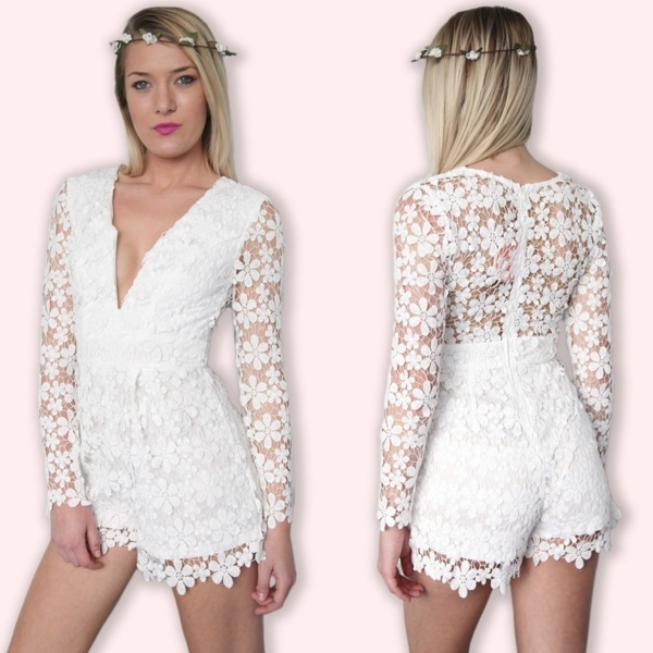 Bohemian Floral Daisy Lace Plunge Neck Crocheted Jumpsuit Playsuit 6 8 10 12 | eBay