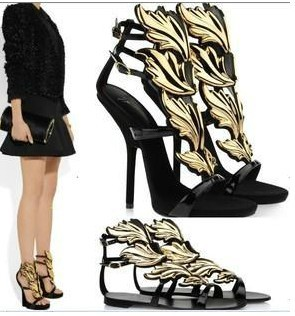 new designer gz gold leaf womens shoes sandals sexy fashion black ...