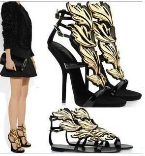 new designer gz gold leaf womens shoes sandals sexy fashion black ...