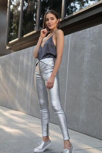 pants metallic sneakers top olivia culpo instagram tank top