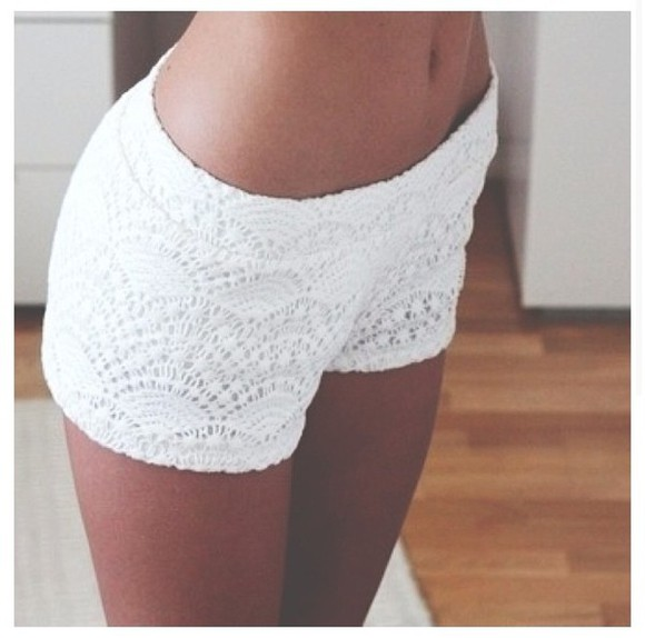 white pants shorts lace cute girly white clothes cut off shorts light white lace shorts