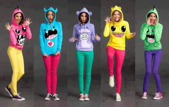 multicolor green top pink blue yellow purple monster ears ring sweater clothes cute arr blouse
