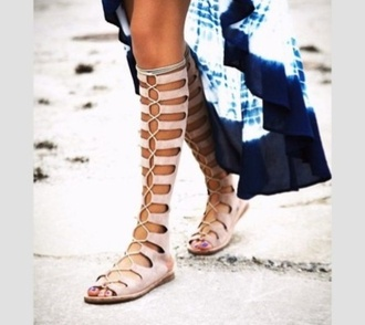shoes sandals knee high lace up tie up string gladiators bohemian