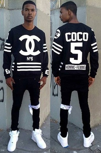 sweater hoodie coco coco sweater chanel purse mens sweater black sweater