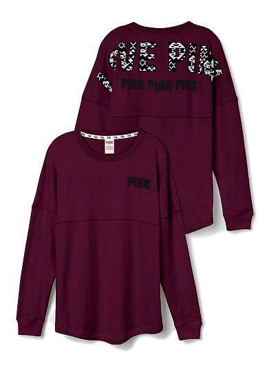 Secret PINK Aztec Varsity Crew Sweatshirt Long Sleeve LARGE/Maroon