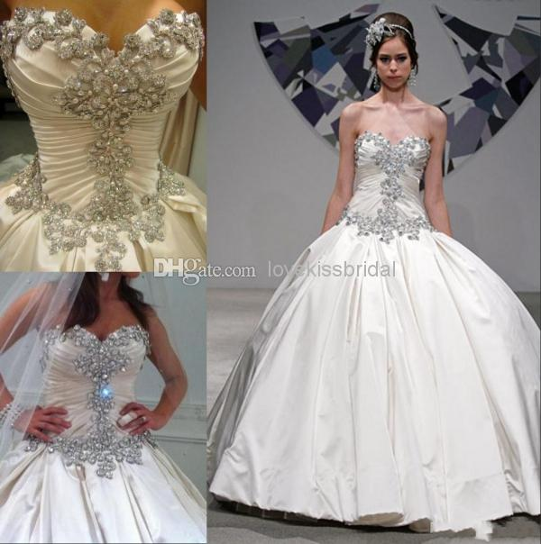 Discount Gorgeous Crystal Beaded Ball Gown Wedding Dresses Sweetheart Sleeveless Pleats Lace-up Backless Bridal Gowns Pnina Tornai Wedding Dress Online with $150.79/Piece | DHgate