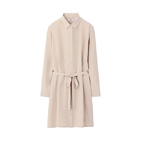 Women silk shirt long sleeve dress e uniqlo uk online for Long sleeve silk shirt dress