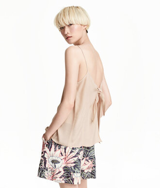 top bow back bow top backless top silk top cami nude top tank top