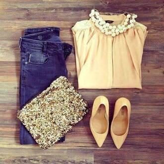 bag necklace beige shirt jewels shoes glitter sequins sparkle gold clutch handbag