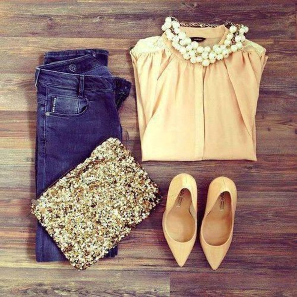 bag necklace beige shirt jewels shoes glitter sequins sparkle gold clutch handbag