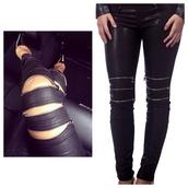 leggings,zipper in leggings,maniere de voir,leather pants,zip,jeans,black or white