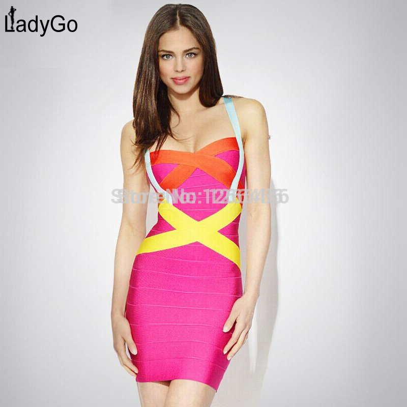 Aliexpress.com : Buy LADY GO 2014 Hot Summer Women 100% Rayon Rainbow Stripes Sexy Patchwork Pink Cocktail Dress Strap Bandage Dress HL047 from Reliable dress up girls dresses suppliers on Lady Go Fashion Shop