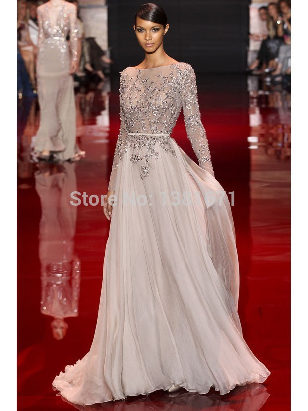 Aliexpress.com : Buy 2014 Fall Shining Beaded Tops And Sleeve Best Selling Long Sleeve Celebrity Dress from Reliable top designer bridesmaid dresses suppliers on Aojia Top Evening Dress