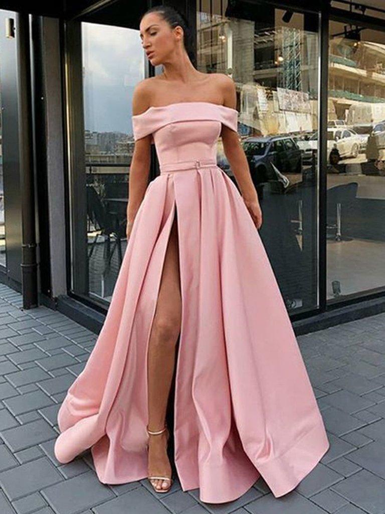 Custom Made Off Shoulder Pink Prom Dress with High Slit, High Slit Formal Dresses, Evening Dresses