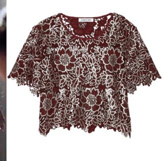 top lace metallic red silver flowers