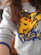 jumper,pikachu,pokemon,sweater,jewels,old school