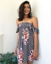 dress,ootd,fashion,style,spring,summer,outfit,floral,flowers,off the shoulder,bellexo