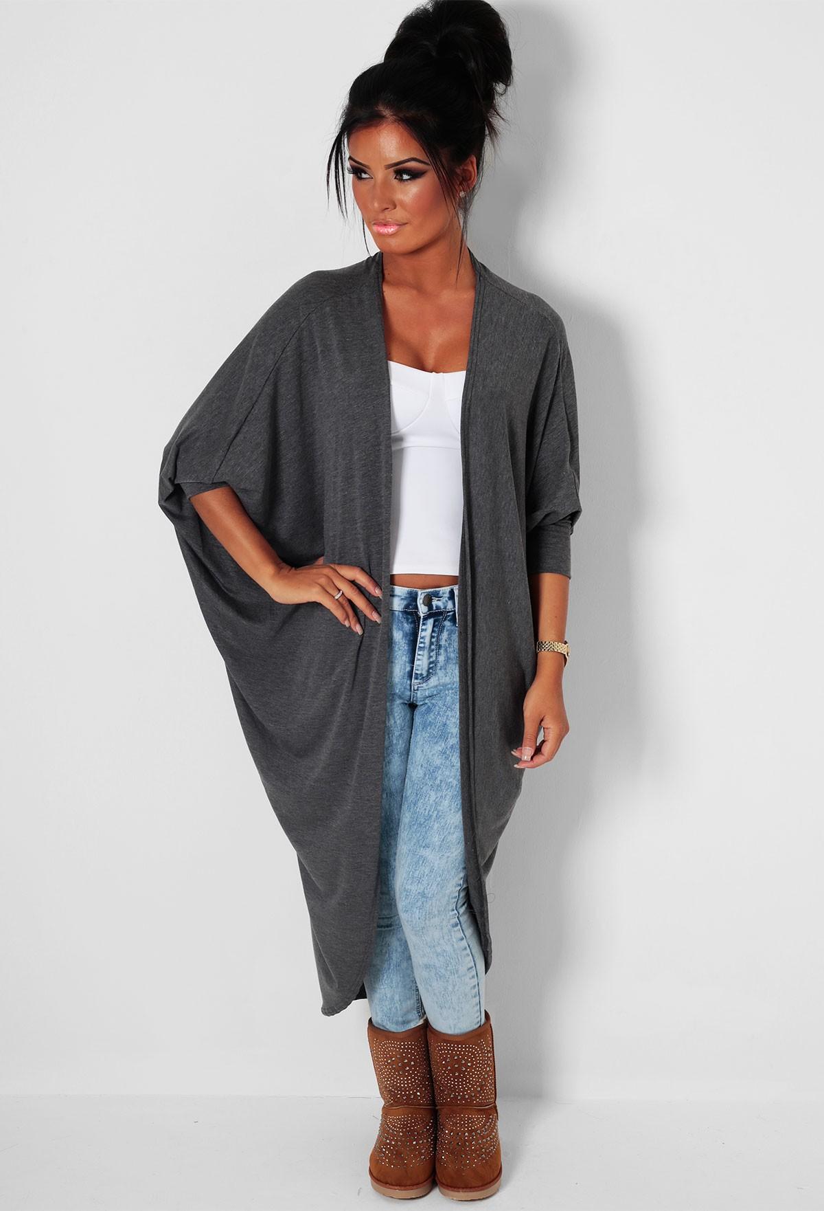Dark Grey Batwing Knit Cardigan | Pink Boutique