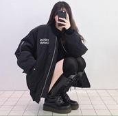jacket,korean fashion,grunge,ulzzang,ulzzang style,aesthetic,tumblr,black,shoes,K-pop,boots,cute,black boots,coat,winter coat,black jacket,black coat,bomber jacket