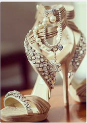 shoes,chanel,chanel shoes,rhinestones,high heels,nude high heels,wedding shoes,pearl,shoes pearls,soft pink,sexy shoes,chain,diamonds,ankle straps,nude shoes,sandals,beige,nude,strappy,blouse