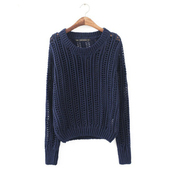 navy,hollow out,dark blue sweater,sweater