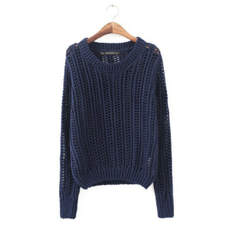 navy hollow out dark blue sweater sweater
