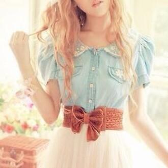 blue dress skirt collar bows waist belt cute shirt floral vintage blue shirt light blue girly