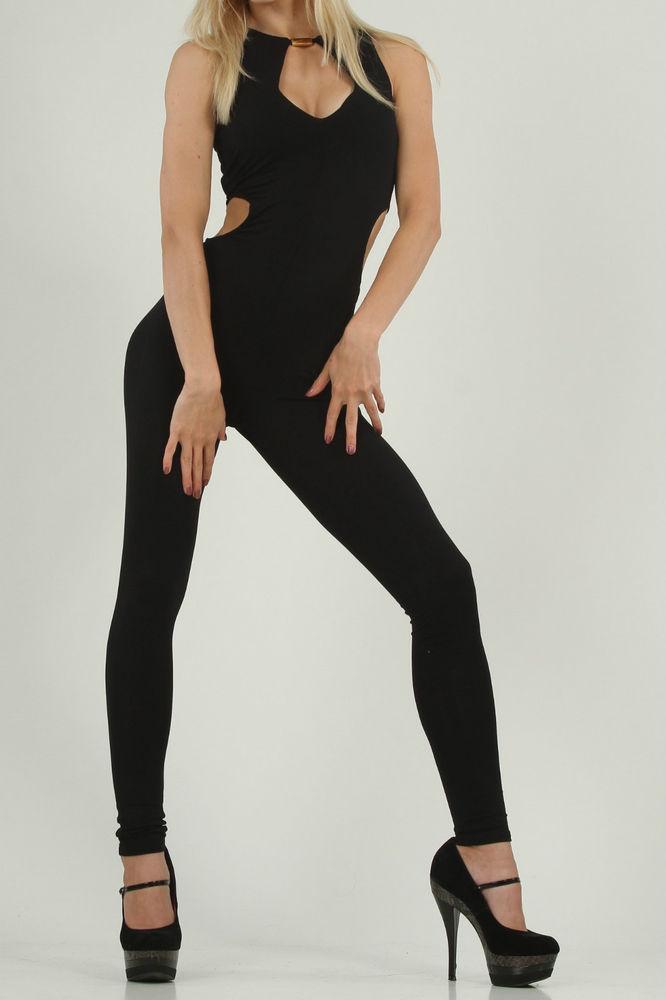 Jumpsuit Overall von Asos, schwarz XS, sexy, Einteiler mit goldfarbenem Stab | eBay