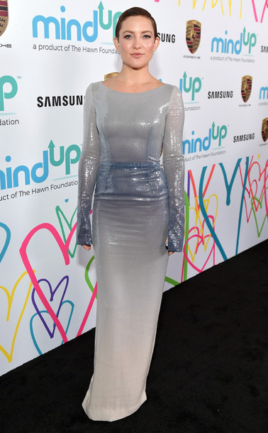 dress grey maxi dress gown prom dress kate hudson