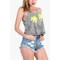 OMG Pine Tree Vintage Tank Top - Gray / Neon Yellow