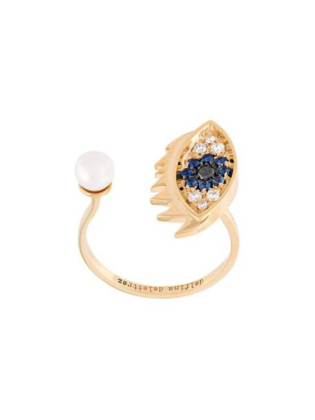 Delfina Delettrez eyes women ring gold grey metallic jewels
