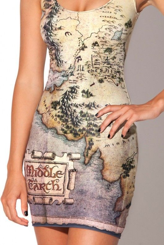 Black Milk Middle Earth Lord of the Rings Mini Tank Dress Grunge Map