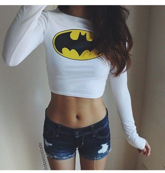 top long sleeves long sleeve crop top crop tops batman shirt white top white crop tops shorts denim shorts