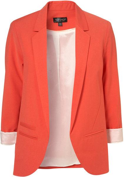 Topshop tangerine boyfriend blazer in orange (tangerine)