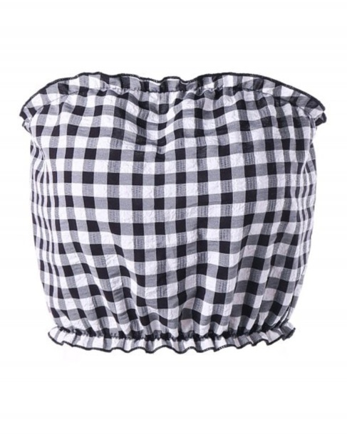 445ff262b12e3d blouse girly black black top black and white checkered gingham crop tops  crop bandeau tube top