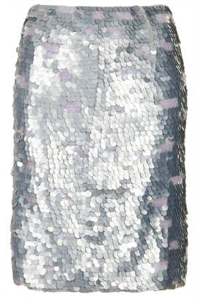 Silver Sequin Pencil Skirt - Topshop