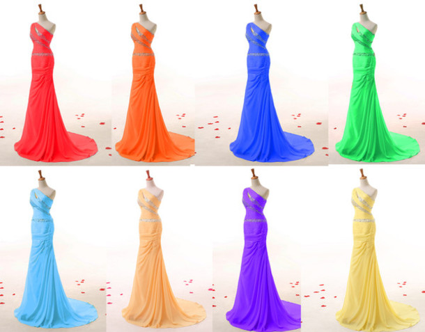 dress evening dress special occasion dress one-shoulder prom dress chiffon dress