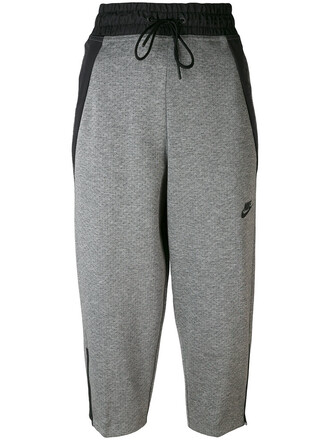 pants track pants cropped women cotton grey