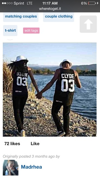 bonnie and clyde couples jersey shirt tank top