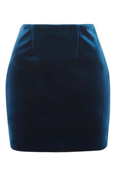 Topshop skirt blue velvet