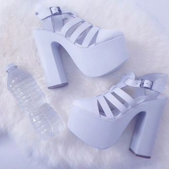 shoes blue shoes baby blue white chuncky heels lavender platform heels purple lilac heels cute tumblr pastel high heels