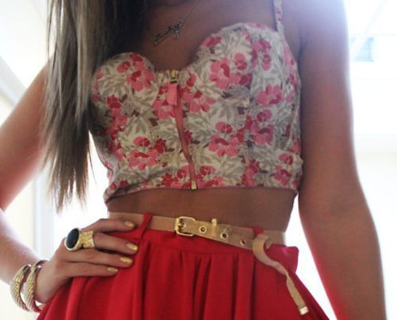corset top shirt shorts jewels red floral high waisted skirt