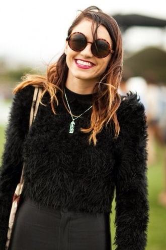 sweater black sweater warm fuzzy