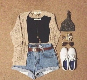 top crop tops high waisted shorts sweater flannel shirt jewlery