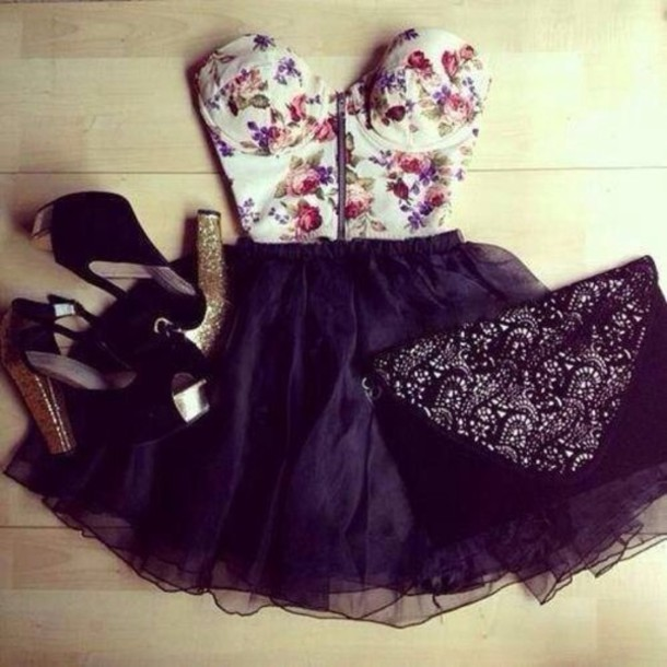Tank top: floral, summer, pretty, dress, bustier, floral ...