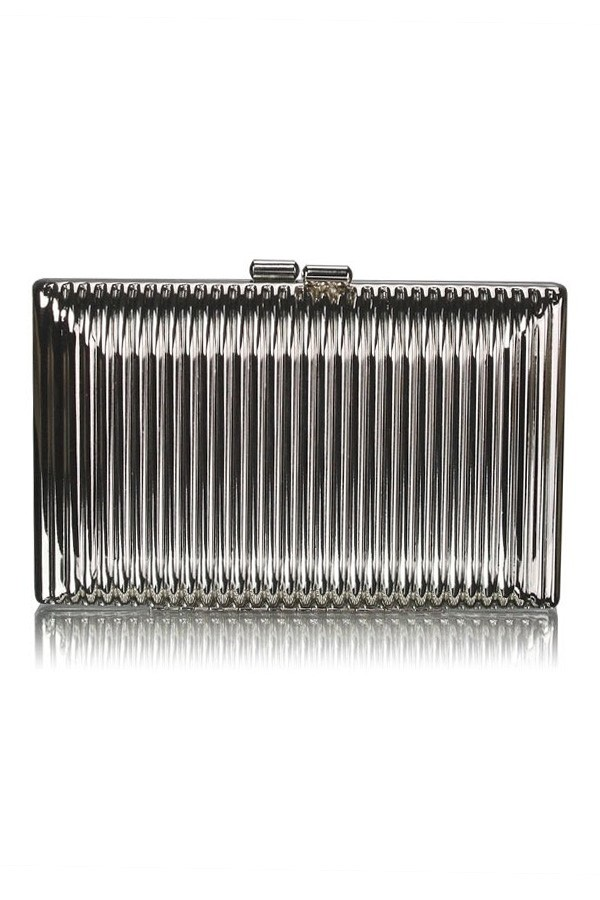 Silver Metallic Ribbed Box Clutch Bag